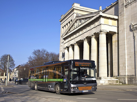 Electric bus in clean city Munich Germany